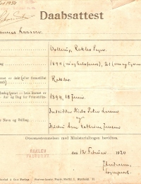 Dåbsattest Johannes Larsen
